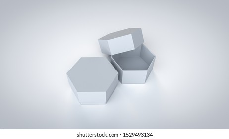3D rendered empty Simplex Hexagonal Cardboard Box packaging with open and close cover for graphic designers presentations and portfolios.