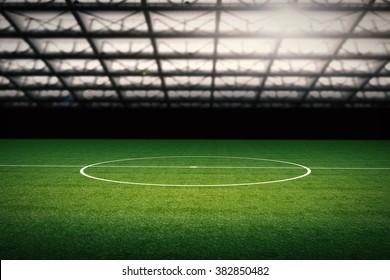 3d rendered empty stadium at night
