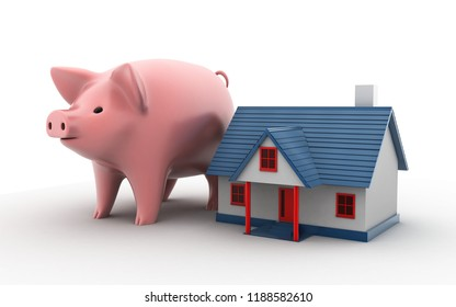 3d rendered estate and property concept  house model and piggy bank on a white background