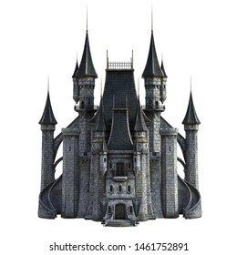 3D Rendered Fairy Tale Castle on White Background - 3D Illustration