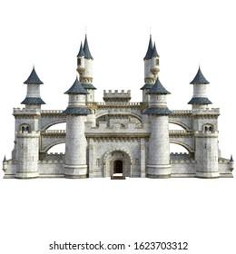 3D Rendered Fairy Tale Castle on White Background - 3D Illustration