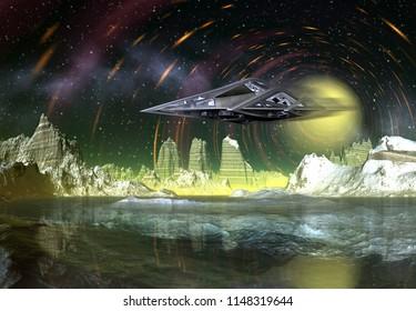 3D Rendered Fantasy Alien Landscape with space ship - 3D Illustration