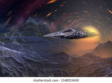 3D Rendered Fantasy Alien Landscape with space ship - 3D Illustration