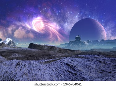 3D Rendered Fantasy Alien Landscape - 3D Illustration