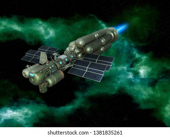 3D Rendered Fantasy Alien Space Scene with Spaceship