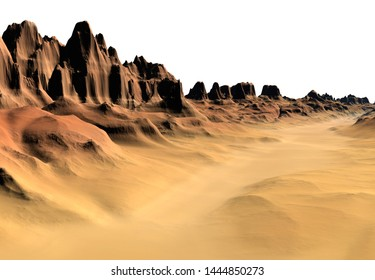 3D Rendered Fantasy Desert Landscape on White Background  - 3D Illustration