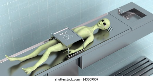 3D rendered fantasy died alien on the table in the secret laboratory