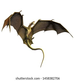 3D Rendered Fantasy Dragon Isolated on White Background - 3D Illustration