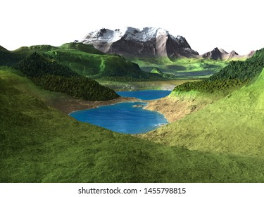 3D Rendered Fantasy Landscape on White Background  - 3D Illustration