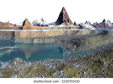 3D Rendered Fantasy Landscape on White Background - 3D Illustration