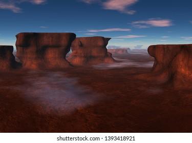 3D Rendered Fantasy Landscape with Sandstone Stacks  - 3D Illustration