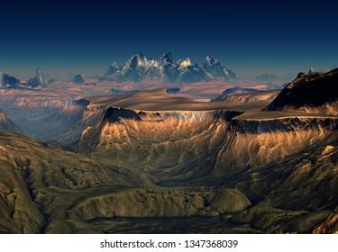 3D Rendered Fantasy Mountain Landscape - 3D Illustration