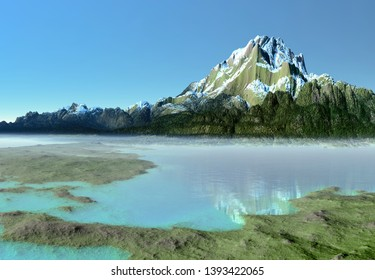 3D Rendered Fantasy Mountain Landscape with a Lake  - 3D Illustration