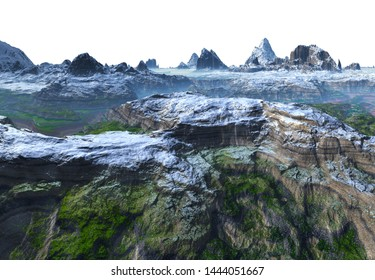 3D Rendered Fantasy Mountain Landscape on White Background  - 3D Illustration