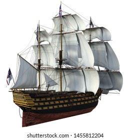 3D Rendered Fantasy Sailing Ship on white Background - 3D Illustration