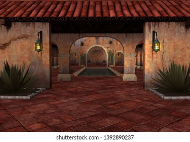 3D Rendered Fantasy Scene with Spanish House at Sunset - 3D Illustration