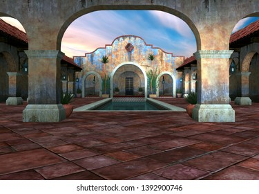 3D Rendered Fantasy Scene with Spanish House in Daylight - 3D Illustration