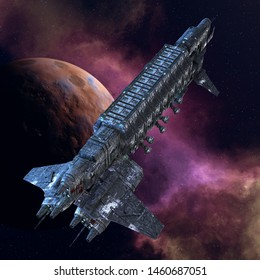 3D Rendered Fantasy Spaceship on Space Background - 3D Illustration
