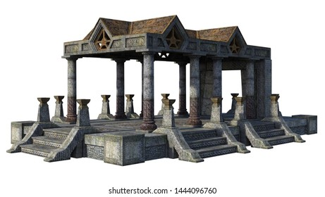 3D rendered Fantasy Temple with Celtic Symbols on White Background -