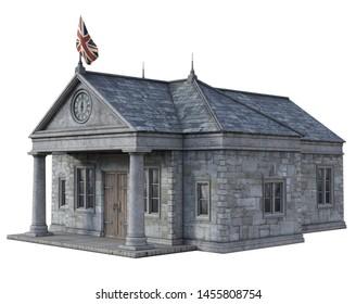 3D Rendered Fantasy Town Hall on white Background - 3D Illustration