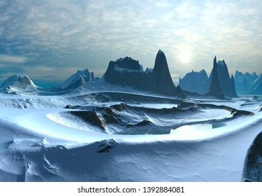 3D Rendered Fantasy Winter Landscape - 3D Illustration