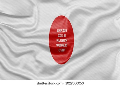 3D Rendered flag for the Japan 2019 Rugby World Cup.