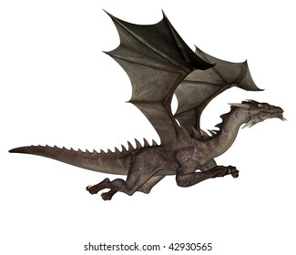 3D rendered flying dragon isolated on white background