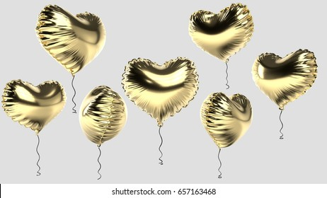 3d rendered foil heart gold balloons on grey background in random angles