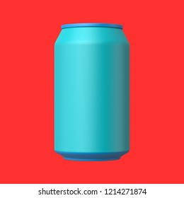 3d rendered front view of a cyan and azure soda can on a red background.