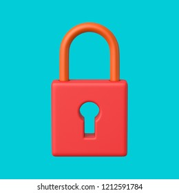 3d rendered front view of a red and salmon padlock on a cyan background.