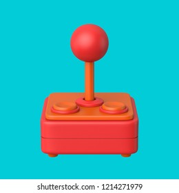 3d rendered front view of a red and salmon joystick on a cyan background.