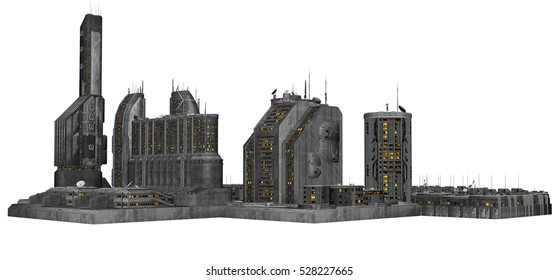 3D Rendered Futuristic Building Block