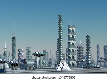 3D Rendered Futuristic City Skyline - 3D Illustration