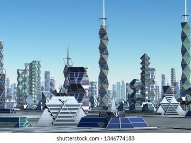 3D Rendered Futuristic City Skyline - 3D Illustration