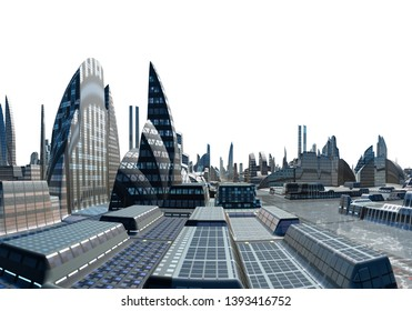 3D Rendered Futuristic City Skyline on White Background - 3D Illustration