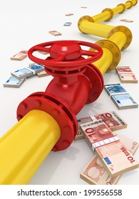 3D rendered gas pipeline with money