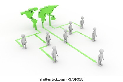 3d rendered Global business network concept isolated on white background