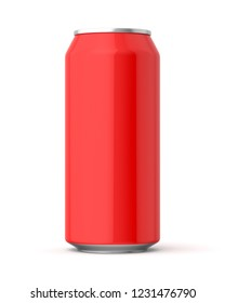 3d rendered glossy red 440ml can on a white background.