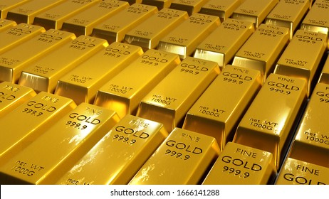 3D rendered of gold bars
