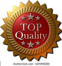 """A 3D rendered golden metallic seal with stars and text """"TOP Quality"""" on a red metallic finished inner disk."""