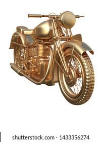 3D rendered golden motor cycle