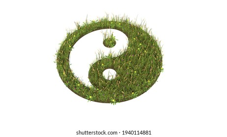 3d rendered grass field with colorful flowers in shape of symbol of yin yang with ground isolated on white background