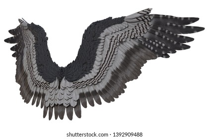 3D Rendered Grey Fantasy Angel Wings on White Background - 3D Illustration
