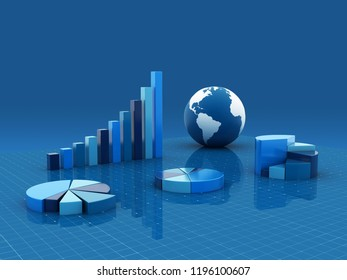 3d rendered growth graph and pie chart isolated on color background
