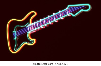 3d rendered guitar as neon lamp, dark background