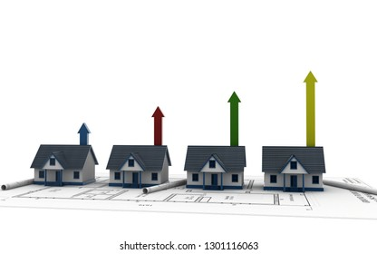 3d rendered house and arrow graph. Growth in real estate isolated on a white background