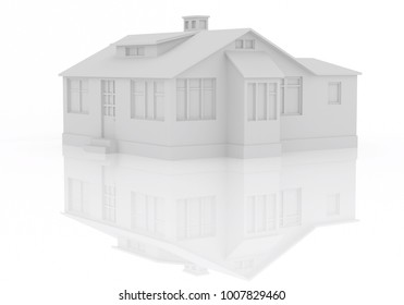 3D Rendered House Illustration with Angle and Reflection