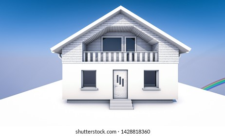 3D rendered house model. Futuristic design. White House, no textures. Two storey house with basement garage, solar panels and big windows. Perfect for sketching, or architecture client work