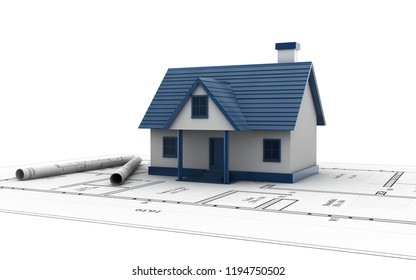 3d rendered House on top of architect blueprints on a white background