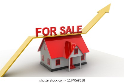 3d rendered house for sale on a white background